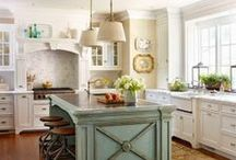 Kitchen remodel ideas / My kitchen remodel wish list, a girl can dream, right? :) Cabinets, sinks, faucets, flooring, window treatments.