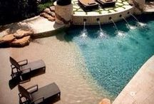 Outdoor spaces / Ideas for creating the perfect oasis in the outdoor living are of our home. Eventually we would like, a freeform pool, a pool cabana, an outdoor kitchen and grilling station. A spot for our Big Green Egg, a place for the hot tub. Designated kid friendly areas and more!!