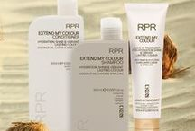 RPR Extend My Colour hair care / Shampoo, Conditioner & Treatment. For hydration, shine & vibrant listing colour. Anti-Snap & UV Filters.  Coconut Oil, Carob & Spirulina.