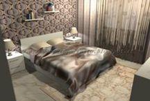 La camera da letto in stile vintage by Consigli D'arredo / Progetto in grafica 3D della trasformazione di una camera da letto moderna in una in stile vintage con il solo intervento delle carte da parati e i complementi