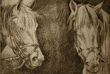 MY WORK.Cai.1/Horses.1/Chevaux.1/Pferde.1/Cavalli.1 / Cai, gravuri, studii, corpul intreg sau doar capul, unul sau doi, in general static...
