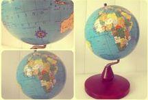 MUNDO ESFERA / bola del mundo, esfera terrestre, decoracion, vintage, globo terraqueo