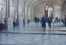 Paintings of Roos van der Meijden / Paintings in oil and acrylic of Roos van der Meijden. Cityscapes (including Paris, Barcelona, Amsterdam) and interiors (including Musée du Louvre) in which reflections and light / shadow are recurring themes.