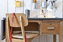 back to school workspaces / vintage desks and chairs for children