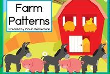 Farm theme / Cows, horses, sheep, chickens and more, all fun down on the farm.