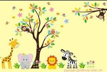 Nursery Tree Jungle Wall Murals / Some of our really cute tree murals with monkeys and jungle animals. Made of fabric, they are great quality and will transform the look of the whole nursery in minutes.  They are also able to be customized with colors, contact us for details.