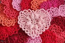 Crochet flowers, hearts and tiny tods
