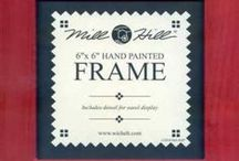 Wooden Cross Stitch Frames ~ Mill Hill  / Perfect companions for your cross stitch creations! Hand painted wooden frames by Mill Hill, including a dowel for use as an easel display.