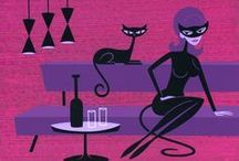 shag art / Josh Agle (Shag) makes slick, narrative kitsch paintings which recall early 60's advertising and Bossa Nova art. Shag's paintings show a world of stylised, witty urbanites with business men in skinny suits and women in skin-tight cat costumes drinking martinis.... Let's enjoy shag's art....