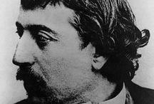 Paul Gauguin 1848-1903 / Fransk - maler, skulptør og grafiker. Først impresjonist senere privitivismen/syntetismen; dekorativ stil med sterk forenkling. Oppholdt seg på Thaiti og Marquesasøyene for å male primitive polynesiske motiver. Foregangsmann for den moderne kunsten. Den norske kunstneren Paul Rene Gauguin var sønnesønn til Paul Gauguin.