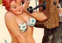 Hilda / A full-figured pin-up girl. Created by Duane Bryers. He started his paintings in 1957. He made 250 paintings by Hilda. They often don't seem to look like each other, because the most paintings he did right out of his head with no model.