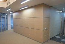 Стеновые панели по индивидуальным заказам / Представлены фото стеновых панелей, экранов для батарей, отбойных досок и прочих элементов декора для офисных помещений.