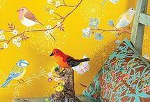 Обои с птицами, бабочками, рыбками, стрекозами ... / Идеи для оформления помещений обоями с изображениями бабочек, птичек, стрекоз, рыбок, обезьян, морскими жителями.