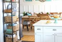 Coastal Decorating Ideas / Decorating a home with shades of sea glass, shells, blue and white, wicker, jute and coastal style.  #coastal #coastalstyle #coastalcharm #decoratingwithblueandwhite #beach #beachinspired
