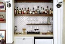 Hipster Wet Bar / Ideas to redo / refresh a 1970s small wet bar.  Complete with mirrored backsplash / by Bethany Rehling