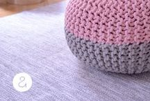 PARKER poufs & rugs / gorgeous 50/50 two tone poufs for cozy chic low seating, or use as an ottoman.