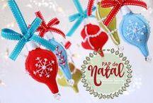 Enfeites de Natal em Feltro Vintage / No meu site um passo a passo completo e gratuito desses lindos enfeites de Natal estilo vintage.  Acesse e confira: http://www.boutiquedofeltro.com/menu-noticias/234-pap-natal-enfeites-vintage