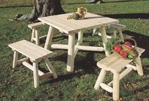 Outdoor Furniture / Premier Fence Outdoor Furniture is constructed of Northern White Cedar and are naturally insect resistant. They can be stained or will weather to a silver gray.
