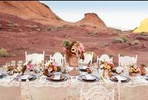 Theme: Shimmering Desert Wedding / Cactus and Lace Elopements: Stylized wedding theme for a shimmery desert intimate ceremony with romantic shades of pink and gold. (Gold & Cream)