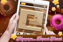 A Crazy Chocolate Donut Slash / Dive into the delicious world of Chocolate and Donuts and indulge yourself in the most sumptuous mouth watering Puzzle Game ever! Slice, snap, dribble and munch your way through 50 levels of yummy chocolate bar heaven testing your drool reaction skills as you go.