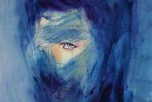 лазурь / цвет страданий, внутренней боли с сильным оттенком надежды.