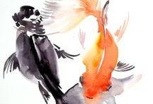 Goldfish Art / Aquarelles, dessins, illustrations avec des poissons rouges.