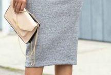 Grey pencil skirt casual