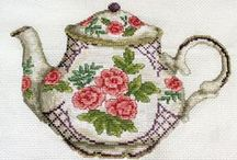 Cross stitch - Τea cups & tea-pots