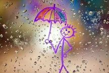 Rain! / But I tell you, love your enemies and pray for those who persecute you,, that you may be children of your Father in heaven. He causes his sun to rise on the evil and the good, and sends rain on the righteous and the unrighteous. Matthew 5: 44-45  / by Ginger Smith
