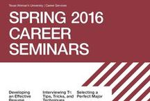 Career Seminars / Features flyers with information about seminars hosted by the Career Services department.