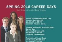 Career Days / Features flyers with information about TWU Career Days.
