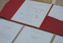 my wedding invitations / A little board to showcase my wedding invitations! Blush, gold glitter, burgundy and peach.