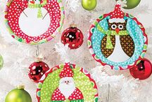 """Quilty Christmas Ornament Swap 2016 / Cottage Quilts * Sew Creative Studio is hosting an in-store handmade """"quilty"""" Christmas Ornament Swap.  Use these pins as inspiration for creating an ornament.  Be sure to pick up the form with the """"rules.""""  Although some of these pins feature lots of glue, please sew instead.  Our form in the store gives you more guidance."""