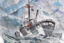 acuarelas / pintura en acuarelas o watercolor preferentemente marineras o maritimas