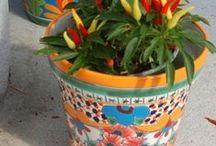 Talavera Garden Planters / Authentic Talavera Planters from Mexico:  http://www.lafuente.com/Mexican-Decor/Talavera-Pottery/