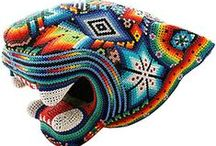 Huichol Art from Mexico / Huichol Yarn & Beaded Art from La Fuente Imports -- One of a Kind Works of Art.  http://www.lafuente.com/Search/?search=huichol