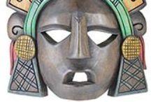 Mexican Handmade Masks / Coconut Masks ~ Mayan Wooden Masks ~ Painted Masks.  http://www.lafuente.com/Mexican-Art/Masks/