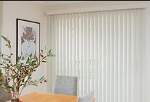 Vertical Blinds / Vertical Blinds are able to provide light and privacy control by the ability to rotate blades through 180 degrees, or set them at any angle in between. AKA Track Blinds