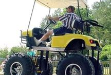 Golf cart and accessories / Real little cars for riding instead of walking to hit a little ball / by Joe Saffa