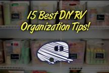RV Organization / Trying to keep the inside of an RV organized can feel like a losing battle. With few drawers and cabinets, skinny wardrobes, small shelves, and tiny pantries, it takes creativity and flexibility to get and keep your RV neat and tidy. By using everyday items in unique ways, in combination with a few space-saving items, you can increase the storage capabilities of your RV. RV Organization articles on making the limited space in your RV more usable, functional, and comfortable!