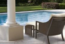 Audrey Collection / The audrey collection features durable powder-coated aluminum frame in java with N-dura® all-weather woven wicker inserts in black walnut. Generously proportioned with fade- and water-resistant Sunbrella® all-weather cushions. Immediate availability in Dupione Sand; 14 alternate fabric colors are made-to-order. The styling says 1960s Manhattan. The materials and construction are state-of-the-art.