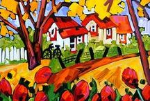"""Marie-Claude Boucher / Marie-Claude maintains a palette of primary and pure colours. She has developed her distinct style with the use of spontaneous and confident brush strokes: """"I am not looking for perfection in the details, but rather simplicity in my settings."""" It is in the countryside where she finds her inspiration, often interpreted through welcoming red-roofed houses and characteristic clotheslines."""