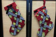 DRC (Congo) Christmas Stockings and Items / Christmas stockings made from fabric from the Democratic Republic of the Congo, or made to represent this country.