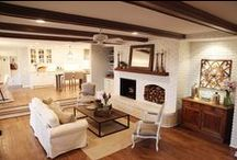 family & living rooms / Floors, beams, white fireplace / by Katy Fry