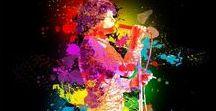 SPLASH COLOR PAINTING MUSIC/ OBRAZY Z MUZYKĄ / MALARSTWO z plamami koloru / Painting with color splash