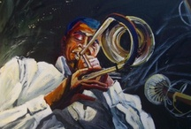 JAZZ PAINTINGS~KATHLEEN CARRILLO / Paintings by Kathleen Carrillo of Jazz musicians rocking to the music, through color and brushwork.
