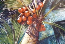 FLOWER PAINTINGS, TROPICAL ~ KATHLEEN CARRILLO / Paintings  by Kathleen Carrillo, inspired for the Mexican jungle