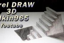 Draw 3D / Dibujo en 3D  diseñados en corel draw