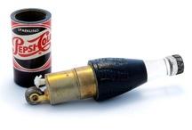 Old Cigarette Table and Pocket Lighters / Vintage, old lighters.