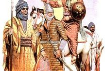 """Medieval Arab, Moor and Seljuk warriors / Images depicting warriors of """"the Crescent"""", that is -mainly- Muslum armies of various places around the south Mediterranean sea and theNear East"""